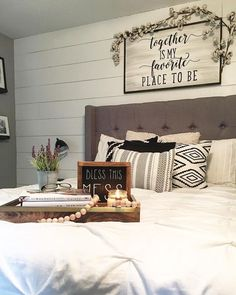 Master Bedroom, master bedroom decor, bedroom decor, farmhouse bedroom, farmhouse style bedroom, farmhouse style, farmhouse decor, modern farmhouse, white bedding, white comforter, black and white pillows, black and white bedding, black and white decor, black and white bedroom, tufted headboard, gray walls, SW Pussywillow, sign above bed, cotton stems, cotton stem garland, over the bed sign, shiplap, shiplap wall,