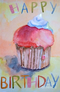 Best Birthday Quotes : QUOTATION – Image : As the quote says – Description Watercolor illustration of cake by Regina Jershova Happy Birthday 1, Happy Birthday Cupcakes, Best Birthday Quotes, Happy Birthday Images, Happy Birthday Greetings, Birthday Messages, Birthday Pictures, Happy Birthday Little Girl, Happy Birthday Artist