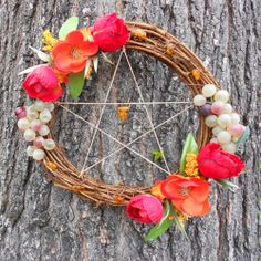 "8"" Pagan Summer Harvest Litha/ Summer Solstice Pentacle Wreath With Poppies Garden Roses Grapes Wildflowers and Baltic Amber :- This gorgeou..."