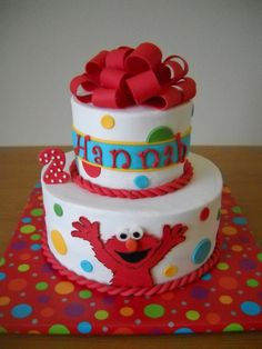 Something Like This With Decorative Dots And Red Piped Not Rope 2 Cake Elmo Birthday