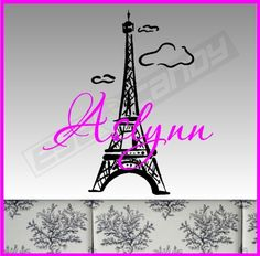 Personalized Eiffel Tower Decal Removable Eiffel by eyecandysigns