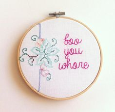 Mean Girls 'Boo You Whore' Hand Embroidery by ThimbleAndBobbinUK
