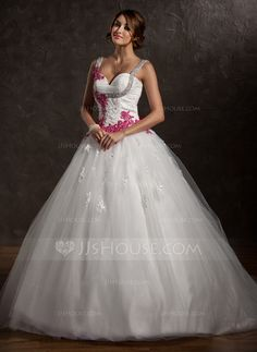Wedding Dresses - $192.49 - Ball-Gown Sweetheart Chapel Train Satin Tulle Wedding Dress With Ruffle Lace Appliques Bow(s) (002011413) http://jjshouse.com/Ball-Gown-Sweetheart-Chapel-Train-Satin-Tulle-Wedding-Dress-With-Ruffle-Lace-Appliques-Bow-S-002011413-g11413