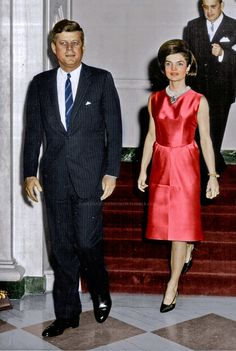 "thekennedysincolor: ""President John F. Kennedy and First Lady Jackie Kennedy, ca. 1960s """