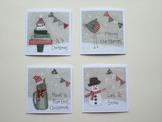 This set of 4 Christmas cards are prints of original textile artworks made by me. There is one of each of my 4 designs. They have been printed onto 350gsm uncoated card, and have been left blank inside for your own message. Size 6 x 6 These cards comes with white envelopes and are individually sealed in clear cello bags I can combine postage for multiple purchases, please message me for a quote.
