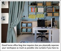 Feng Shui Home Office - Blue for Skills/Knowledge... rectangular storage containers! BAM! good feng shui