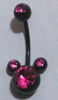 Mickey Mouse Belly Ring Pink & Black