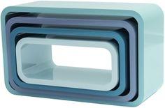 Sebra Bokhylle Oval 4-Pack Pastell Blå | Innredning På veggen | Jollyroom