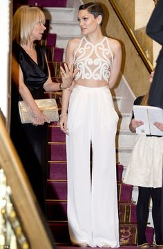 Eye-catching: Jessie certainly stood out with her high waisted trousers and the sheer top