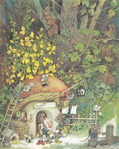 Fritz Baumgarten (German, 1883-1966), illustrator. From Erich Heinemann / Wichtelhausen / Bild 16. 1946.