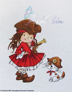 pirate girl cross stitch
