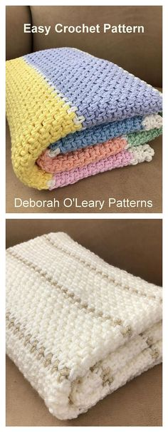 Crochet Chunky Baby Blanket Pattern by Deborah O'Leary Patterns #crochet #baby