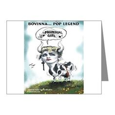 Bovinna Mooterial Girl Box 20 #GreetingCards #humor @LTCartoons #cafepress #pinterest #madonna #cows #humor #funny #music #sale #gift