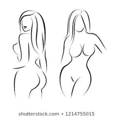 Set of stylized woman body silhouettes. Graceful girls drawn by line, vector illustration. Female Body Paintings, Drawing Female Body, Female Body Art, Woman Drawing, Outline Drawings, Pencil Art Drawings, Art Drawings Sketches, Silhouette Painting, Girl Silhouette