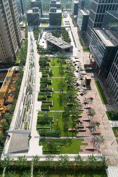 Beiqijia Technology Business District by Martha Schwartz Partners Landscape Architecture Drawing, Landscape And Urbanism, Green Architecture, Landscape Plans, Urban Landscape, Landscape Design, Parque Linear, Plaza Design, Landscaping Work