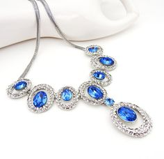 Blue Crystal and Rhinestone Necklace with by crystaljemscouk