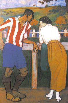 El Artista Pintor Aurelio Arteta inmortalizó a Rafael Moreno en este cuadro, Idilio en los Campos de Sport, en el que el mítico futbolista dialoga con la que sería su esposa, Avelina Rodríguez Miguel