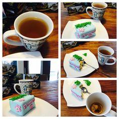 Agarwood Tea with cake.