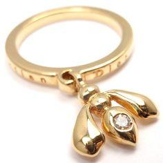 CHRISTIAN DIOR 18K YELLOW GOLD DIAMOND BEE BAND RING