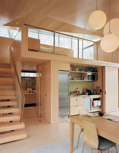 2 of 10 in Striking Angular Cottage in Connecticut 2 of 10 in Striking Angular Cottage in Connecticut amazing tiny house design that make you amazed 48 Chilling Japanese style interior Designs 78 modern home decor trends to copy in year 2019 35 Small Apartments, Small Spaces, Work Spaces, Office Spaces, Decor Home Living Room, Home Decor, Hidden Kitchen, Kitchen Small, Space Kitchen