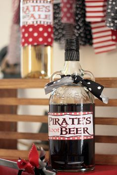 Themed drinks at a Pirate Party!  See more party ideas at CatchMyParty.com!  #partyideas #pirate