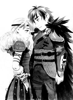 Astrid and Hiccup by jigokuen.tumblr.com