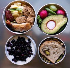 yogurt & frozen berries!  half an avocado!  sliced cheese and bread! probably mr. bento.