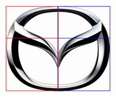 The Mazda logo uses the same golden ratio height to width relationship as the…