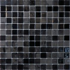 Solistone 12.5 x 12.5 Luxor glass collection black floor tile