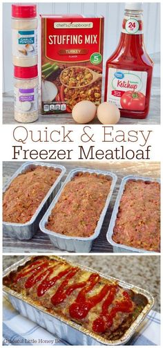 Stock your freezer with this quick and easy freezer meatloaf that only requires It makes a simple freezer meal for busy weeknights. Your family will surely appreciate this comfort dish on a cold evening. Freezable Meals, Make Ahead Freezer Meals, Freezer Cooking, Quick Meals, Meal Prep Freezer, Freezer Meal Recipes, Crockpot Freezer Meals, Freezer Dinner, Baby Food Recipes