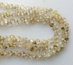 Rutilated Gold Quartz Faceted Heart Beads Gold by gemsforjewels