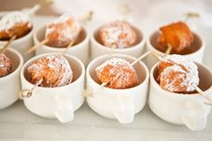 Coffee Cups with Doughnut Hole Garnishes
