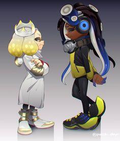 hime (splatoon) and iida (splatoon) by puchiman Splatoon 2 Game, Splatoon Memes, Nintendo Splatoon, Splatoon Comics, Game Character Design, Character Art, Lusamine Pokemon, Pearl And Marina, Manga
