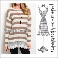 """Khaki & Cream Knit Sweater Monochromatic khaki & cream knit sweater with lace detail. Great career wear or weekend wear. Pair with leggings or skinnie's for a fun comfy weekend look. Size S/M, L/XL length 31"""" Threads & Trends Sweaters Crew & Scoop Necks"""