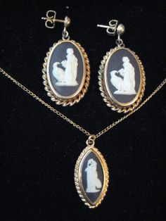 Vintage Signed Gold Filled Wedgwood Black Jasperware Cameo Necklace and Earrings #Wedgwood