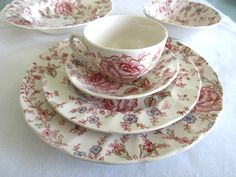 Johnson Brothers Rose Chintz-Pink dishes (England 1883). I have one set of these. Need to find more.