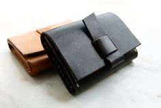 Handmade Leather card holder with D-ring made to order