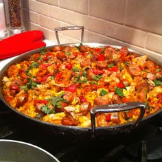 Spanish paella party - chicken and sausage paella