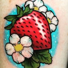strawberry and strawberry flower tattoos Strawberry Drawing, Strawberry Tattoo, Strawberry Flower, Cherry Tattoos, Flower Tattoos, Left Hand Tattoo, Tattoo Outline Drawing, Tattoo Fixes, Neo Traditional Tattoo