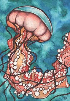 Coral Sea Nettle Jellyfish Print By Tamara Phillips