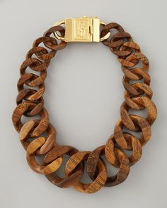 Tory Burch Brown Graduated Wooden Chain Necklace