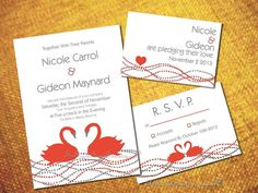 PRINTABLE FOREVER SWANS Invitation Suite by TheScarletSageTree, $55.75