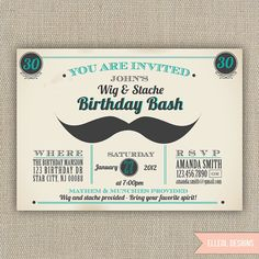 Wig and Stache Birthday party Invitation by ElleOL on Etsy, $16.00