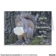 Funny Squirrel, marmalade to my muffin, i miss you Greeting Card  #SOLD (many thanks!)