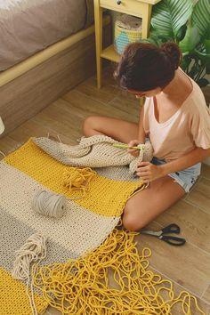 Alfombra de algodón trenzado ligero de rayas hecha de Punto a | Etsy