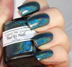 Bad Ass Nails is an extreme deep blue holo. First and second swatch is by Babi from http://colorsutraa.blogspot.com/2013/09/liquid-sky-lacquer-bipp...