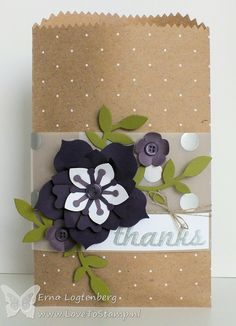 Tuesday, November 11, 2014  Erna Logtenberg (Love To Stamp):  Case The Catty Stampin'Up! Polka Dot Tag A Bag Gift Bags, Flower Frenzy Bigz L Die