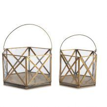 HEXAGONAL GEOMETRIC GLASS AND GOLD METAL FRAME LANTERN WITH  HANDLE FOR WEDDING OR PARTY DECOR   Candleholders Archives - Hire and Style | Hire and Style