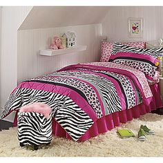 Love the multiple prints in pink/black for a girl's room