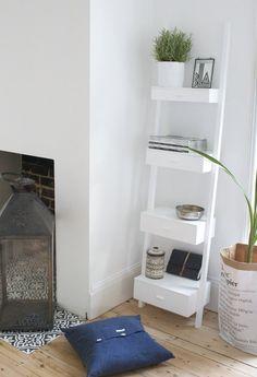 Design Vintage | White Ladder Shelf | Wooden Shelf Ladder | Hubsch